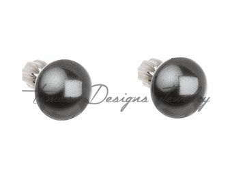 Swarovski Stud Earrings w/ Rhodium-Plated Silver and Swarovski Elements Crystal Pearls - Grey - Screw Back Closure