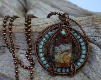 wire wrapped jewelry,  wire wrapped necklace, wire wrapped pendant, handmade,  copper jewelry, gift for her