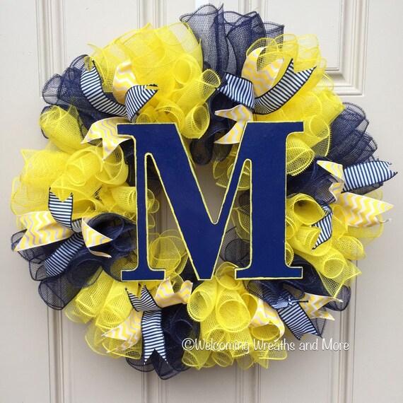 Michigan Wreath University Of Michigan Deco Mesh Wreath