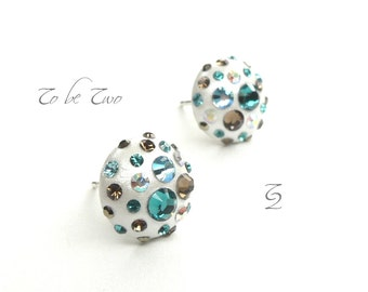 Earrings blue chocolate stems