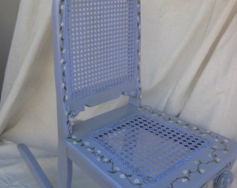 Vintage Rocking Chair for child, with cane seat and back. Nursery and Kid's room furniture, hand painted