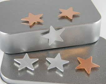 Metal Star Magnets - Refrigerator Magnet - Metal Magnet - Copper and Aluminum Star - Kitchen Magnets - Industrial Magnet Set - MM05