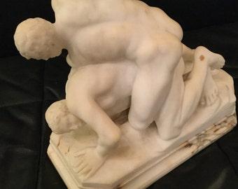 Ca. 1850s Italian Marble Study of Roman Wrestlers