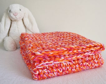 Crochet Baby Blanket-Thick Blanket-Baby Girl Blanket-Stroller Blanket-Travel Blanket-Newborn Gift-Baby Shower Gift-Photography Prop