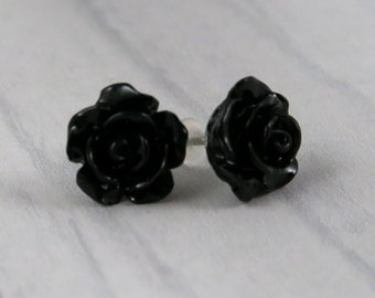 Black Rose Stud Earrings. Rockabilly, Retro, Pin Up,  Kitsch, Psychobilly, Jewellery