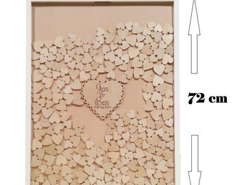 Shabby Chic Wooden Guest Book dropbox JUMBO, Frame Wedding Engagement 350 hearts