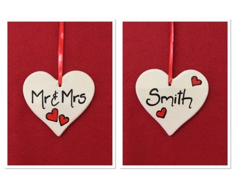 Mr and Mrs Personalised Hanging Heart Decoration