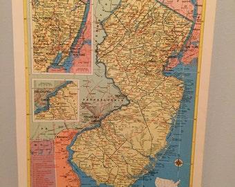 Vintage (1950s) New Jersy Map