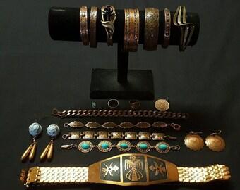 Vintage cuffs bracelets earrings rings pendants