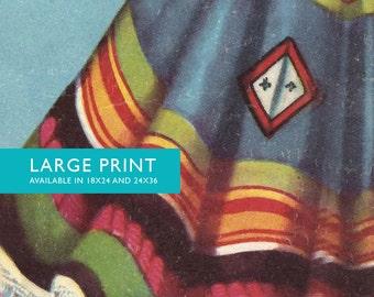 Loteria El Sarape Mexican Retro Illustration Art Print Vintage Giclee on Cotton Canvas and Satin Photo Paper