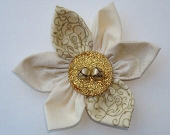 Handmade Fabric Flower Daisy – Beige, Gold, Scrolling Design