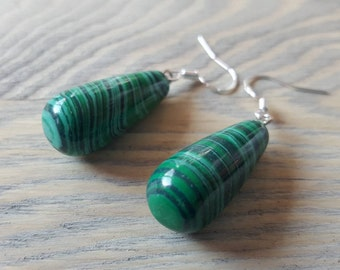 Earrings natural stone Malachite 925 Silver earrings earrings natural stone green Malachite