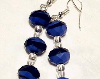 Beautiful blue black beaded earrings