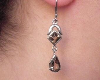 Smoky Quartz Earrings - Smoky Quartz Dangle Earrings - Gemstone Earrings - Brown Gemstone - Handmade Earrings