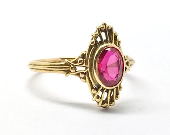 Vintage French 18ct Gold Synthetic Ruby Ring
