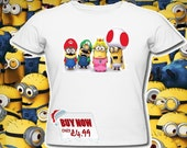 Super Mario minions t shirts despicable me Luigi super mario world  first class post uk adults and kids