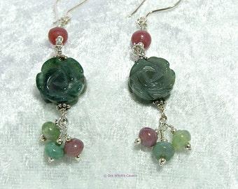 Floral Earrings   Flower Drop Earrings   Gemstone Jewellery   India Agate Earrings   Agate Jewellery   Earring Gift Ideas   Green   A0477