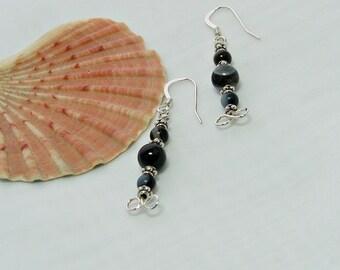 Black Lace Agate Earrings, Gemstone Earrings, Sterling Silver Wire Work Earrings, Earrings for Mum, A0130