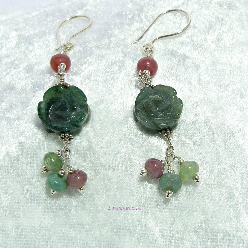 floral earrings flower drop earrings gemstone jewellery