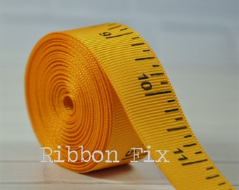 "2 yards 7/8"" Yellow Gold Ruler Print Grosgrain Ribbon - Fall School - Teacher - Craft - Sewing - Baby Shower - Home Dec - Dog Collar/Leash"