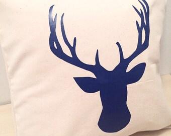 Deer Antler Pillow, Antler Pillow, Rustic Pillow, Rustic Decor, Antler Home Decor, Navy Decor, Navy Pillow, Rustic Deer Decor, Country Decor