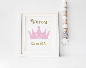Princess Sleeps Here Tiara Print - Girls Nursery Print Princess Print - A4 Nursery Print