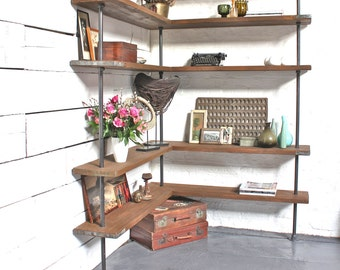 malin floor and wall mounted mitred corner shelving unit made with reclaimed scaffolding boards and dark
