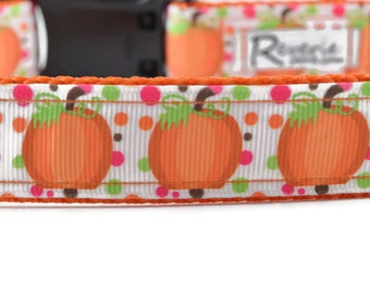 Thanksgiving Dog Collar, pumpkin dog collar, holiday dog collar, fall dog collar, orange dog collar, cute dog collar, pumpkin patch collar
