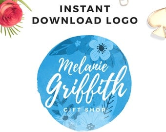 Instant download Watercolor Flower Logo - DIY Premade Logo Design - Floral Logo - Circle Logo - PSD Logo Template - Premade Watermark