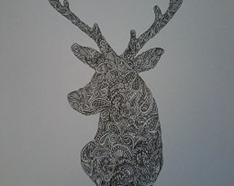 Zentangle Deer Stag A4 Art Print