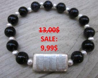 hand made bracelet qurtz rose or goldstone blue