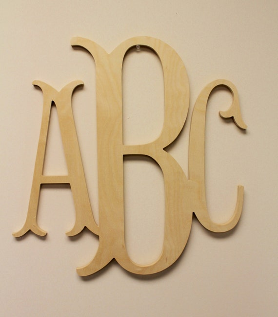 unfinished wood letters wooden monogram unpainted wood monogram wood letters 25367