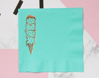 Aqua Ice Cream Scoops Foil Napkins - Rose Gold Metallic Teal Copper Stamped Printed Napkins - ice cream social theme birthday baby shower