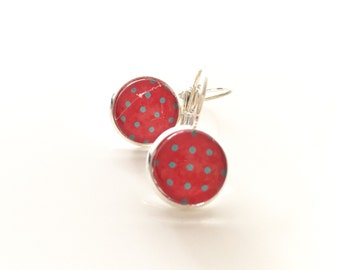 Handmade Red Polkadots Glass Cabochon Earrings