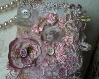 Shabby, vintage inspired brooch,pin,portrait,textile, jewellery,fabric brooch,handmade,tattered,pinkflower