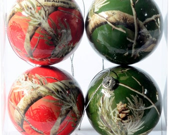 Realtree Red and Green Christmas Ornaments