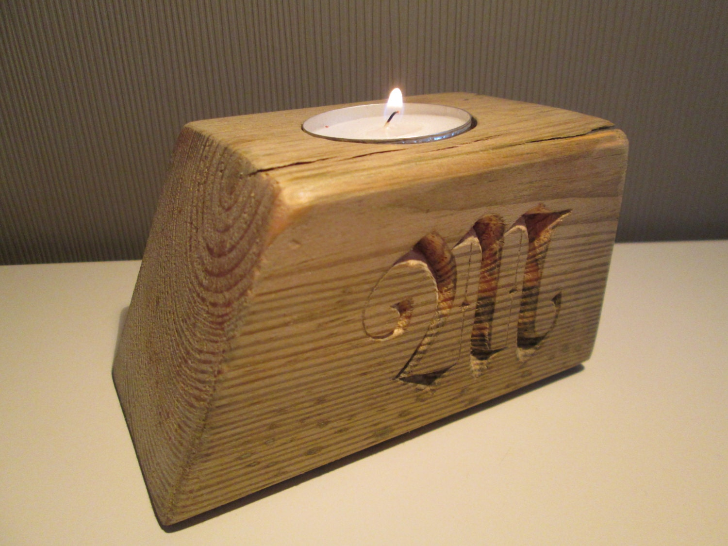 Tealight candle holder with handcarved letters wood