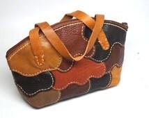 Small leather hand bag, Mini tote leather bag, Hand stitched Sheep skin hand bag, Mini zipper leather bag, mini carry on bag