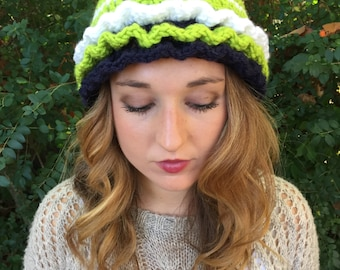 Navy Crochet Hat w/ Lime Green & White Accents and Ruffles