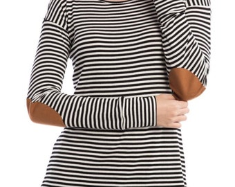 SALE: Black and White Stripped Top with Elbow Patch