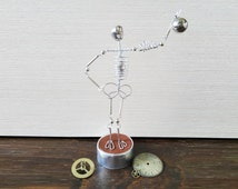 Tommy the Skeleton ® - Weightlifter, Steampunk Wire mini sculpture