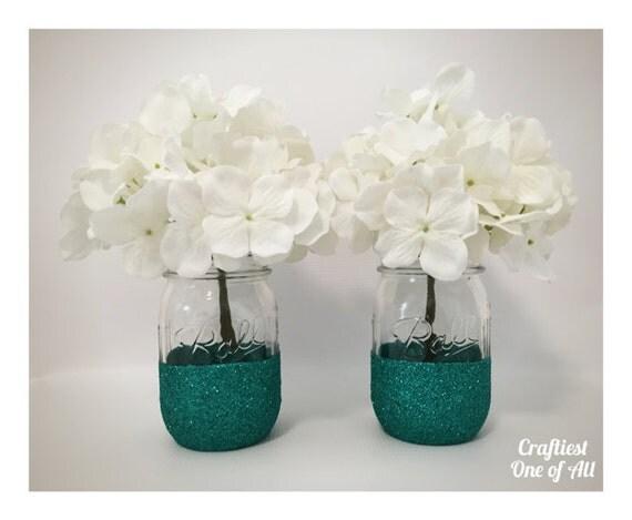 Https Www Etsy Com Listing 270820647 Set Of Two Teal Glitter Mason Jars Teal