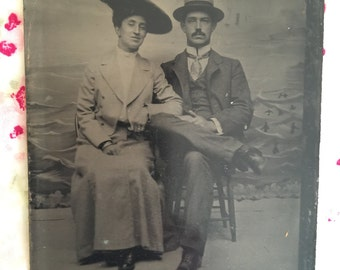 Vintage Tin Type Photo of Emma & Wm F. Dominick