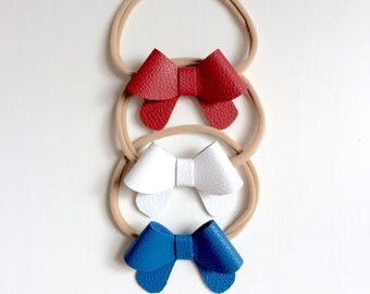 "Set of three: Fourth of July - Red, white and Blue leather ""Helen"" bows - small - headband - alligator clip"
