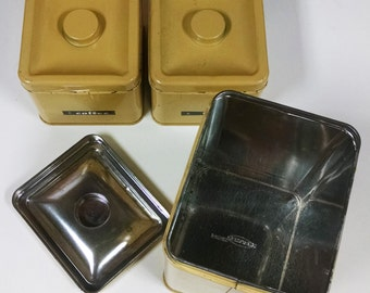 Vintage Yellow Canisters for Tea, Coffee, and Flour