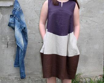 PROMO PRICE- cowboy style- boho style dress-  oversized loose dress-contrast linen dress- natural fabrics tunic- eco friendly fabrics