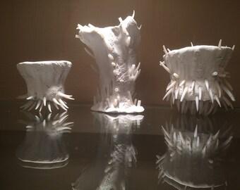 Bonsai Pot Set - Urchin Series, 3 micro plant pots vase sculptures