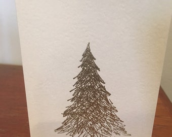 Gold embossed christmas tree holiday card