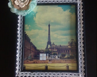 8 x 10 black and lace picture frame with jeweled burlap and green flower / bow custom handmade one of a kind