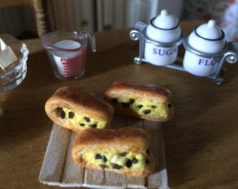 Pastry cream brioche and chocolate chips in polymer clay